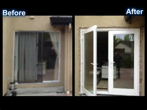 doors swing in or out back of house before and after milgard out swing french