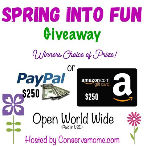 Exchange Amazon Gift Card For Paypal - spring fun giveaway win 250 paypal or amazon gift card it s free at last