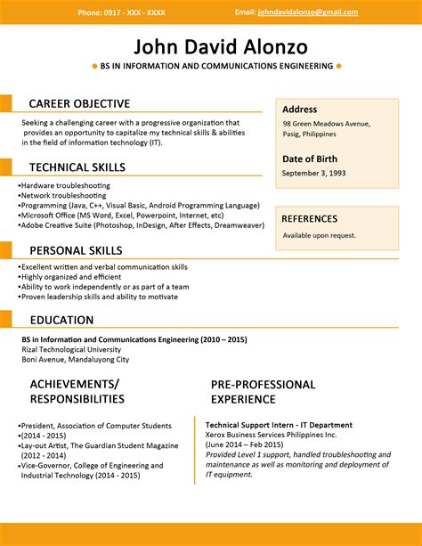 Resume Template For by Resume Templates You Can Jobstreet Philippines