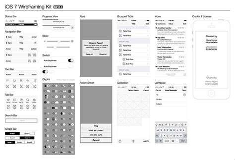 8 Free Ios7 Wireframing Kits Web Graphic Design Bashooka Illustrator Wireframe Template