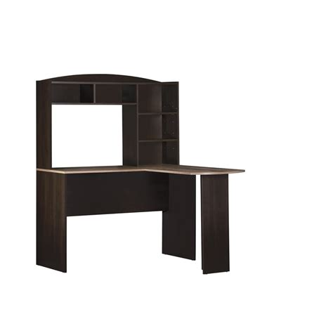 Espresso Desk With Hutch L Desk With Hutch In Espresso And Rustic Oak 9883308com