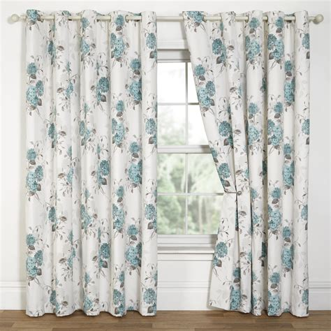Duck Egg Blue Dining Room Curtains Hydrangea Floral Print Eyelet Lined Curtains Duck