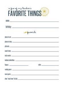favorite things list template the fickle giraffe