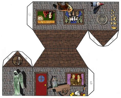 House Papercraft - tarot papercraft house and link to blank pdf