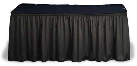 black shirred table skirt for 8 tables