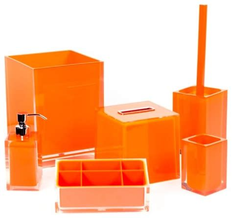Bathroom Accessories Orange Orange Bathroom Accessory Set In Thermoplastic Resin Contemporary Bathroom Accessory Sets