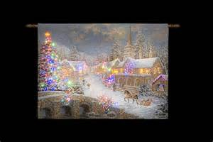 snowtime battery operated fibre optic tapestry 36 x 26
