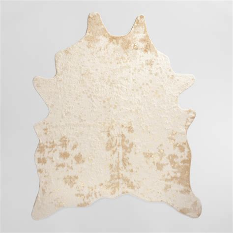 Faux Cowhide Rugs by 5 X6 7 Quot Gold Printed Faux Cowhide Area Rug World Market
