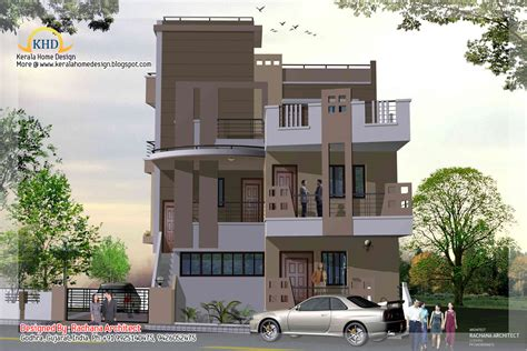 3 storey house plans 3 story house plan and elevation 2670 sq ft kerala