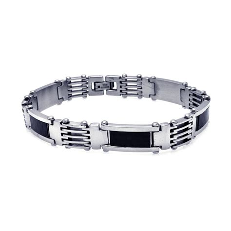 Carbon Fiber Stainless Steel stainless steel black carbon fiber bracelet sssb00079