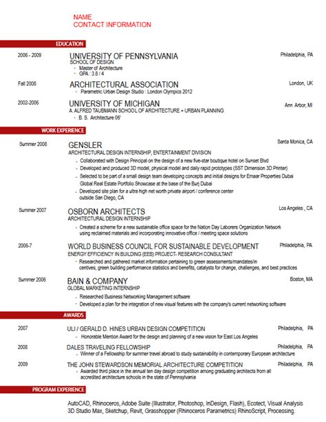 Architecture Resume by Career Services Sle Resumes For Penndesign Students