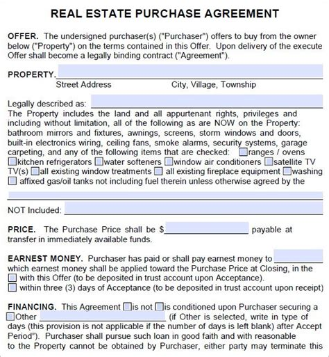 Free Real Estate Purchase Agreement Template