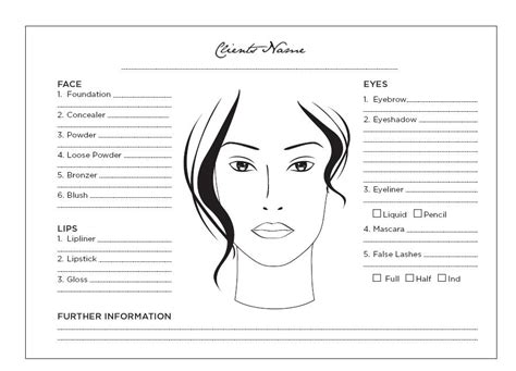 makeup chart template blank make up chart wedding hair and makeup