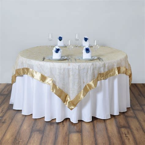 "72x72"" Embroidered Sheer Organza Table Overlay Unique"