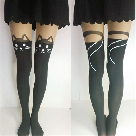 tattoo stockings singapore cat with tail printed tattoo legging pantyhose tights on