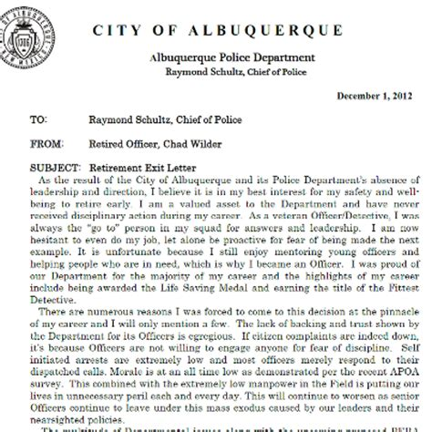 Resignation Letter Exles For Officers Albuquerque Officer Posts Quot Exit Letter Quot On Kunm