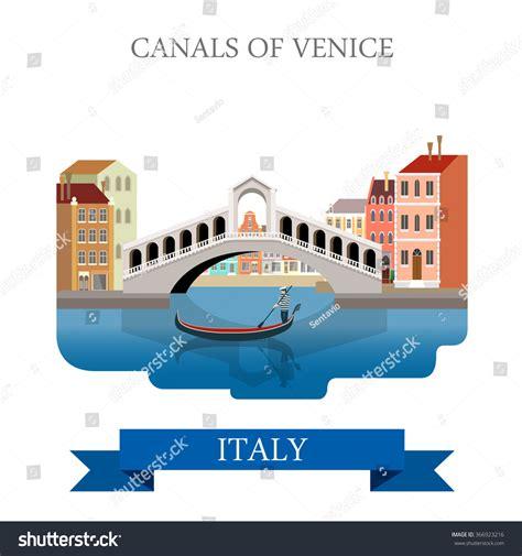 cartoon venice boat rialto bridge canals venice italy flat stock vector