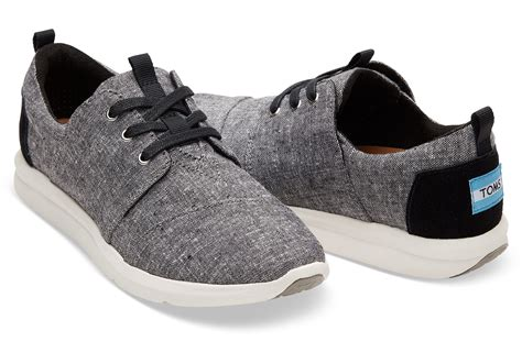 toms athletic shoes black slub chambray s sneakers toms 174
