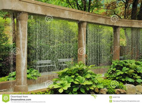 Decorative Garden Wall by Decorative Water Wall In The Garden Royalty Free Stock