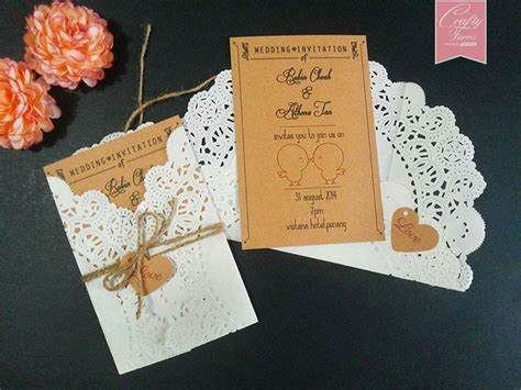 wedding invitation card printing penang wedding card printing with doilies paper and brown string handmade wedding card and favours
