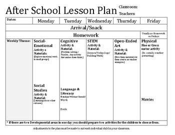 After School Lesson Plan Template By Christin Farmosa Tpt After School Program Lesson Plan Template
