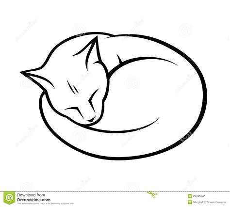 outline sleeping cat tattoo sleepy cat stock photography image 29491622