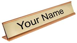 Office Desk Name Tags Custom Gold Office Desk Name Plate Name Tag Wizard