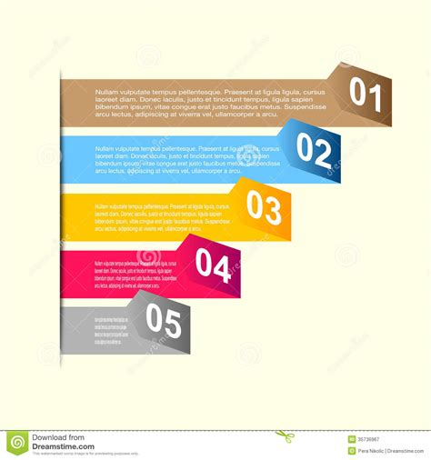 Business Step Paper And Numbers Design Template Stock Vector Illustration Of Element Abstract Free Graphic Templates