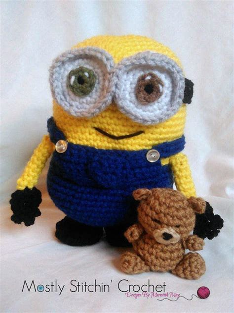 minion crochet bobs and the minions on pinterest minion inspired bob and his teddy bear from mostlystitchin on