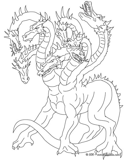 Lernean Hydra The 100 Heads Water Dragon Coloring Pages Mythical Creatures Coloring Pages