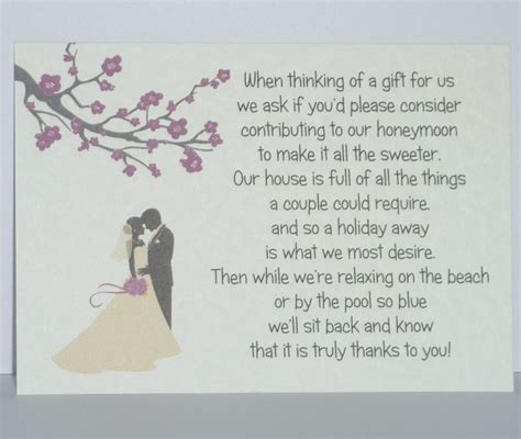 Wedding Gift List Poems by Blossom Silhouette Wedding Gift Poem Cards Honeymoon Money