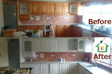 before and after pictures of painted kitchen cabinets painting kitchen cabinets cork painters for professional