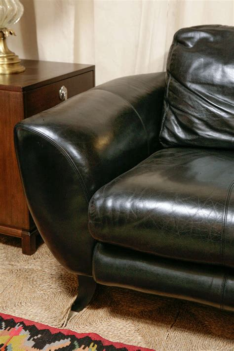 vintage black leather sofa by drexel heritage at 1stdibs