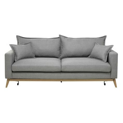 Sofa Bed 3 In 1 by 3 Seater Fabric Sofa Bed In Light Grey Duke Maisons Du Monde