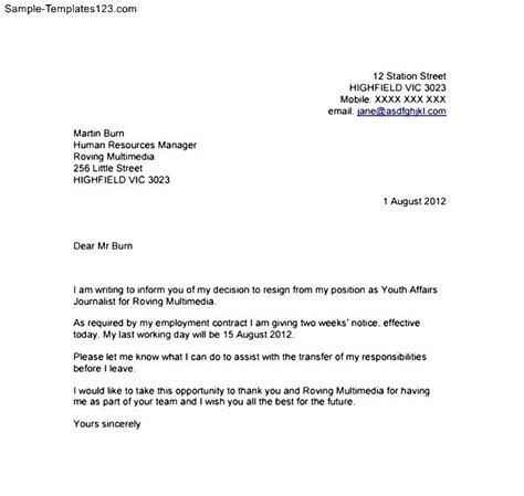 resignation letter template with 2 week notice sle templates