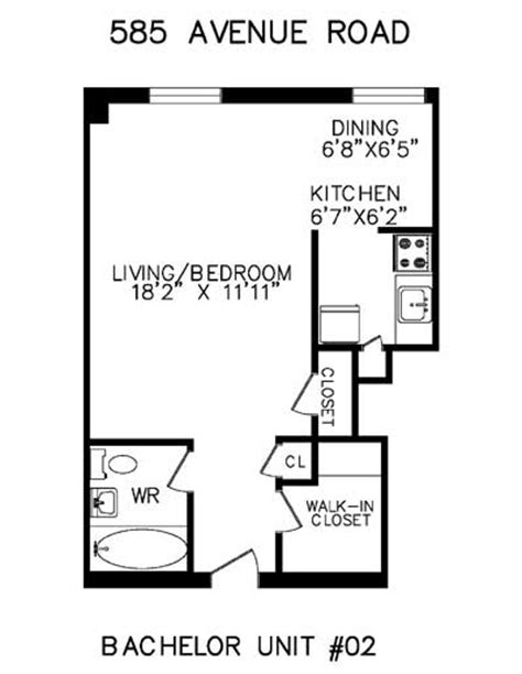 bachelor apartment floor plan floorplans for apartments in toronto at 585 avenue road