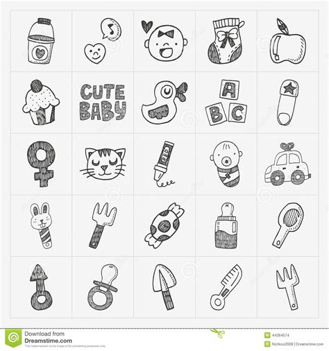 doodle baby doodle baby icon sets stock vector image 44364574