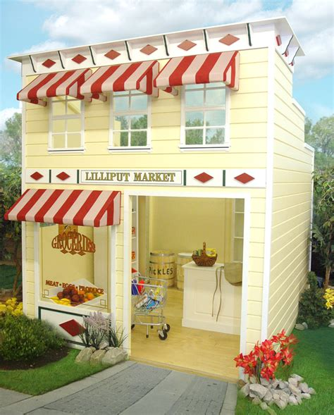 kids backyard store outdoor wooden play homes kids grocery market playhouse