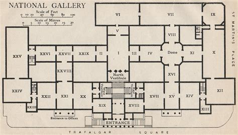 national gallery floor plan national gallery vintage map plan london 1927