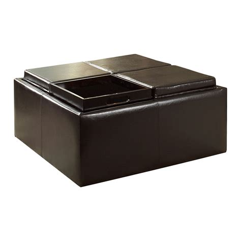 Shop Home Sonata Dark Brown Square Storage Ottoman At Storage Ottoman