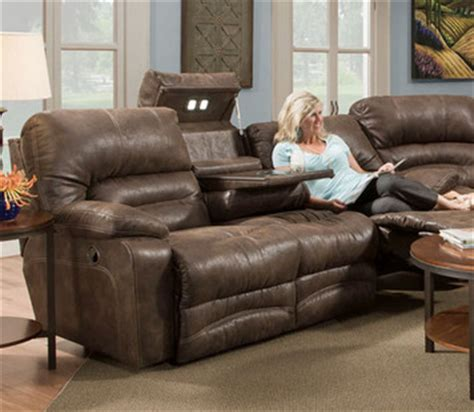 franklin reclining sofa with drop table legacy reclining sofa w drop table lights by