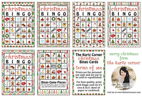 printable christmas bingo game cards the kurtz corner free printable christmas bingo cards