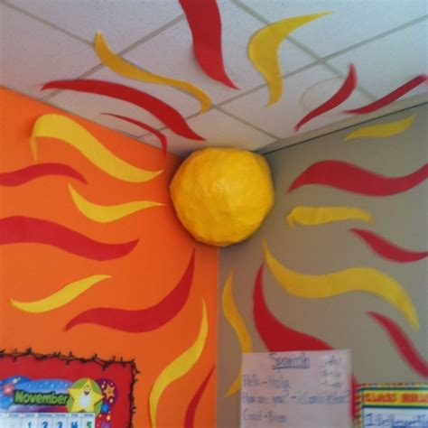 themes for english summer c creative summer classroom decorating with 3d sun on the