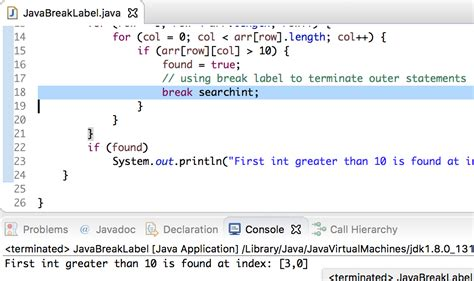 java pattern line break java break statement label journaldev