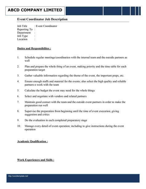 Duties Of An Event Planner by Event Organizer Description Template Free Microsoft Word Templates