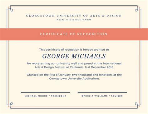 design certificate of recognition mod 232 les de certificats et attestations en ligne canva