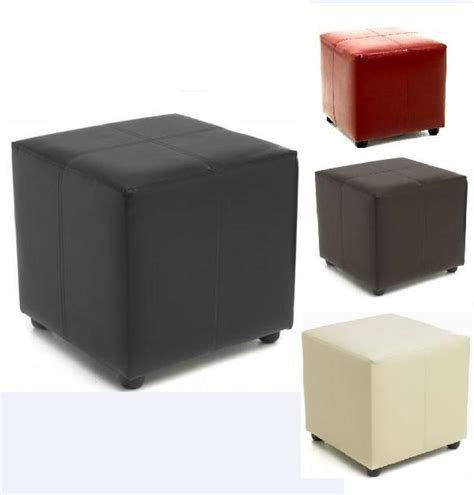 Brown Leather Cube Stool by Footstool Cube Faux Leather Foot Stool Furniture Seat