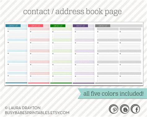 card list address book template contact list printable address book page instant