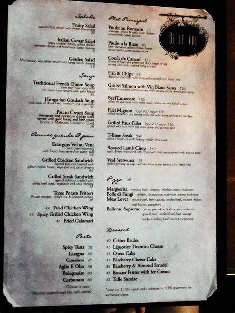 menu makanan  bellevue restaurant gh universal