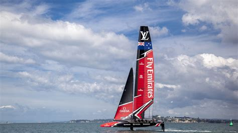 emirates nz emirates team new zealand launches their race boat for the